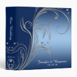 #2 Navy Blue Gradient Ombre Silver Scrolls Album 3 Ring Binder