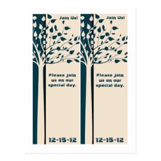2 Navy/Creme Tree Bookmarks Save the Date Postcard