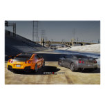 2 Nissan GT-R R35 in Downtown Los Angeles Print