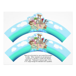 "2 Noahs Ark Baby Personalized Cupcake Wrappers 8.5"" X 11"" Flyer"