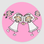 2 novias pegatinas redondas