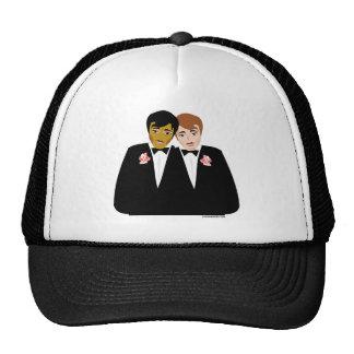 2 novios (étnico y Brown-Haired) Gorras De Camionero