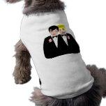 2 novios (pelo rubio y negro) camisetas de mascota