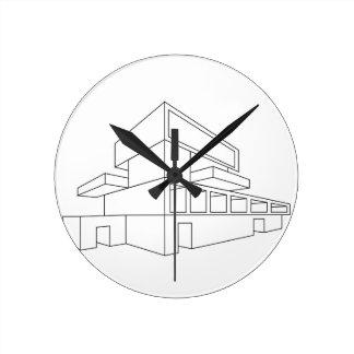 2.o dibujo de perspectiva de una casa reloj redondo mediano