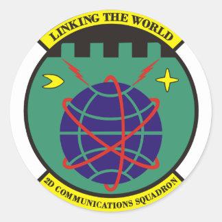 2.o Escuadrilla de las comunicaciones Pegatina Redonda