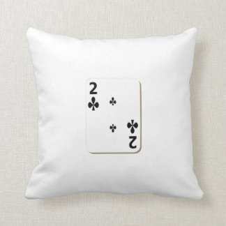 2 of Clubs Playing Card Pillows