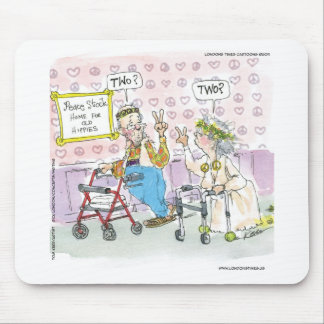 2 Old Hippies & Peace Sign Funny Gifts Tees Mugs Mouse Pads