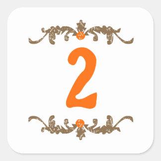 #2 Orange & Brown Scroll Square Sticker