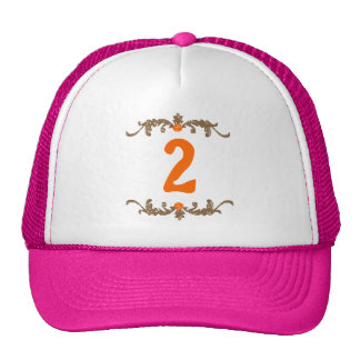 #2 Orange & Brown Scroll Trucker Hat