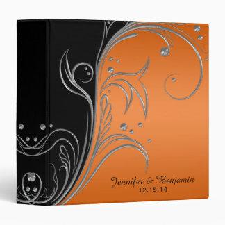 #2 Orange Gradient Black Silver Scrolls Album 3 Ring Binder