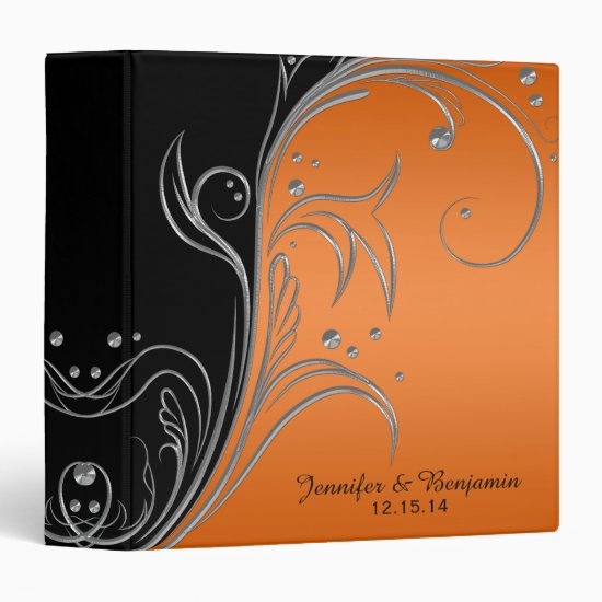 #2 Orange Gradient Black Silver Scrolls Album 3 Ring Binder