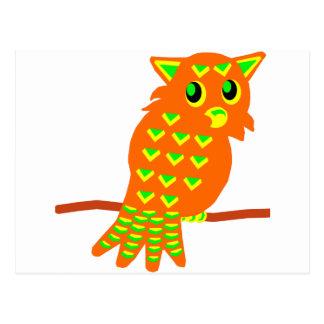 2-Orange Owl Postcard