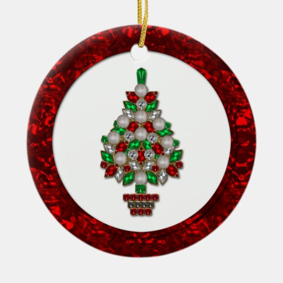 #2 Ornament Red Green Faux Jewels Christmas Tree
