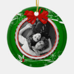 #2 Ornament Red Green Holly Ribbon 1st Christma