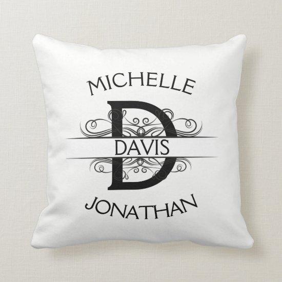 #2 Ornate Art Nouveau Swirls Initial Monogram Throw Pillow