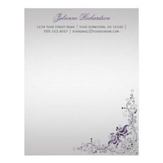 #2 Ornate Purple Silver Floral Swirls Letterhead
