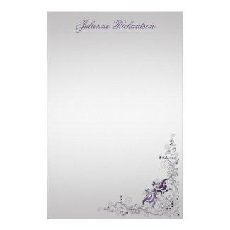 #2 Ornate Purple Silver Floral Swirls Stationery