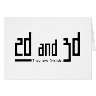 2.os amigos 3d tarjeta de felicitación
