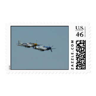 2 P-51 mustangs flying side by side Postage