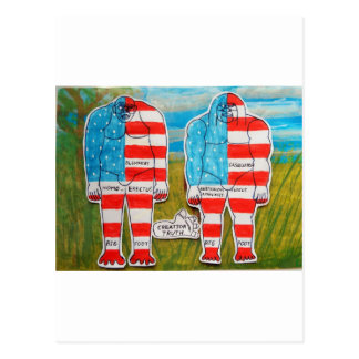 2 painted flag big foot everglade. post card