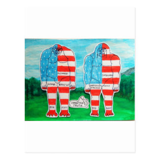 2 painted U.S.A. flag Big foots H and A. Post Cards
