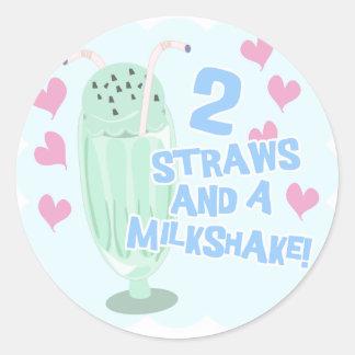 2 paja y un Milkshake Etiqueta Redonda