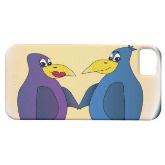 2 pájaros divertidos del amor delante de una Luna Funda Para iPhone 5 Barely There