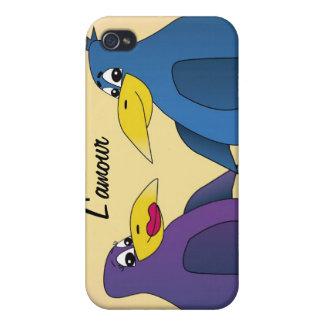 2 pájaros divertidos del amor delante de una Luna  iPhone 4 Funda