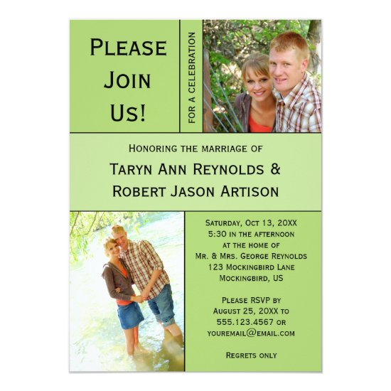 #2 Pale Green Photo Block Post Wedding Invitation