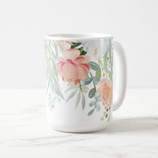 #2 Pale Peach Sage Green Watercolor Floral Coffee Mug