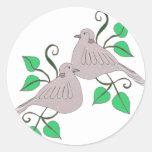 2 palomas de la tortuga etiqueta redonda