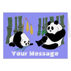 2 Pandas eat Bamboo in Tropical Forest Card card