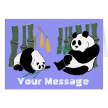 2 Pandas eat Bamboo in Tropical Forest Card