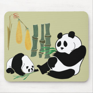 2 Pandas Eat Bamboo In Tropical Forest Mousepad