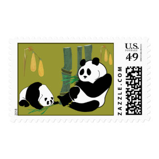 2 Pandas eat bamboo in tropical forest stamp