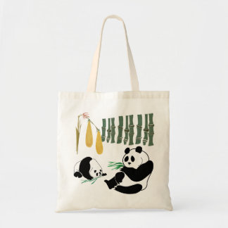 2 Pandas Eat Bamboo In Tropical Forest Tote Bag