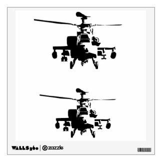 ¡2 para las etiquetas de 1 pared del helicóptero!! vinilo
