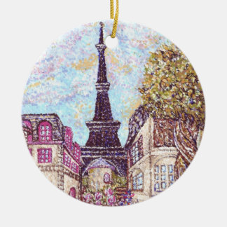 2 Paris Inspired Cityscapes W/Eiffel Tower Rnd Orn Ceramic Ornament