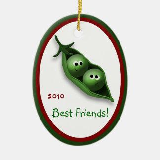 2 Peas in a Pod Oval Ceramic Christmas Ornament