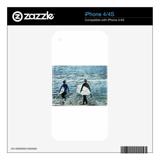 2 personas que practica surf iPhone 4S calcomanía