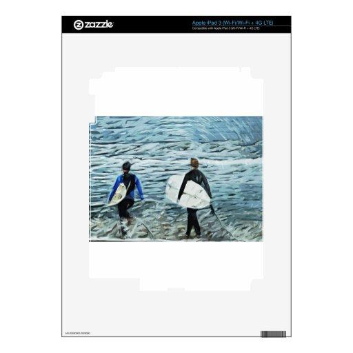 2 personas que practica surf pegatinas skins para iPad 3