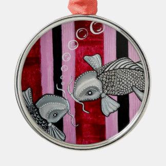 2 pescados de Koi en el ornamento del amor Adorno