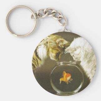 2 pescados del reloj de los gatos llavero redondo tipo pin