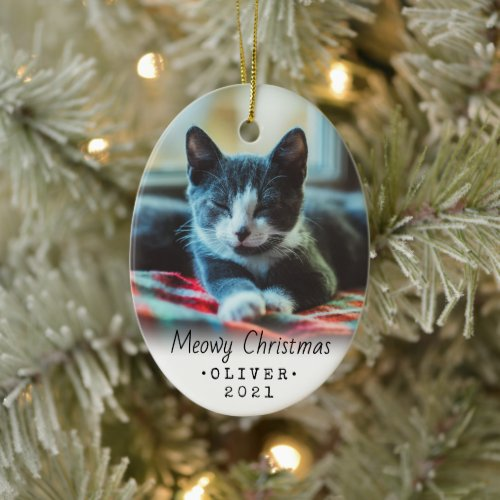 2 Photo Any Text Meowy Christmas Cat Simple White Ceramic Ornament
