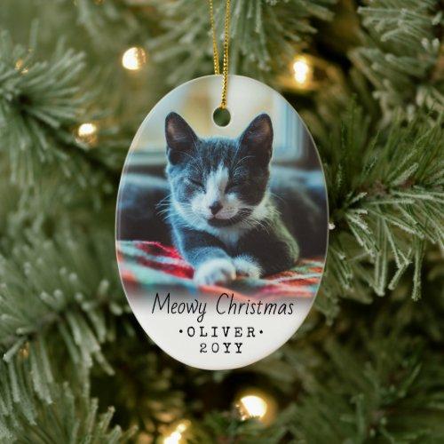 2 Photo Any Text Meowy Christmas Pet Cat Kitten Ceramic Ornament