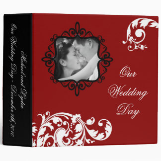 "2"" PHOTO Binder Scrapbook Crimson Red Floral"