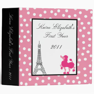 "2"" PHOTO Binder Scrapbook Pink Poodle Paris"