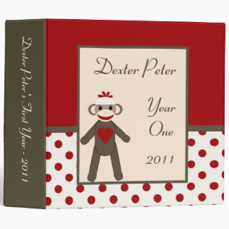 "2"" PHOTO Binder Scrapbook Red Sock Monkey"