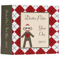 "2"" PHOTO Binder Scrapbook Red Sock Monkey"