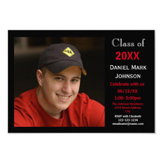 2 Photo Black Background - 3x5 Grad Announcement